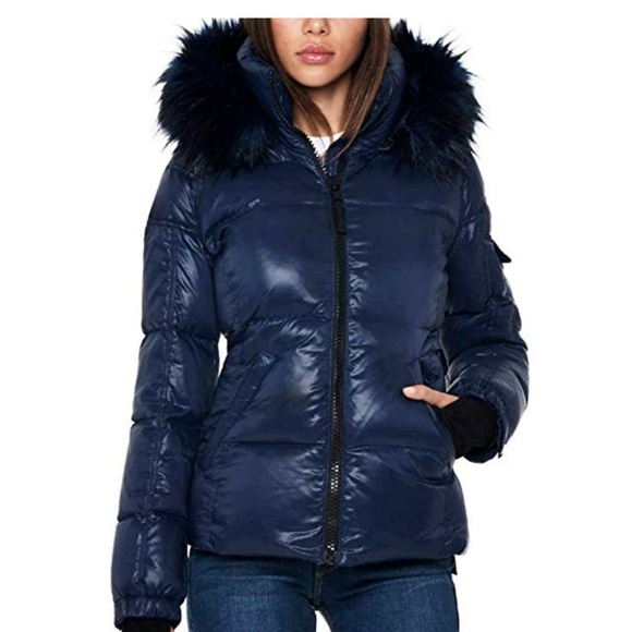 15f36a5de S13 Faux-Fur Hooded Glossy Down Puffer Jacket Navy NWT